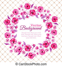 Floral watercolor wreath with pink flowers