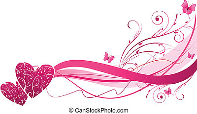 Floral wave with hearts - Pink floral wave with hearts and...