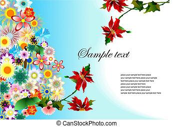 Floral wedding background. Vector illustration