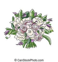 Floral wedding bouquet, sketch for your design. Vector...