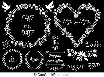 white floral wedding frames and laurel wreath, vector set on chalkboard