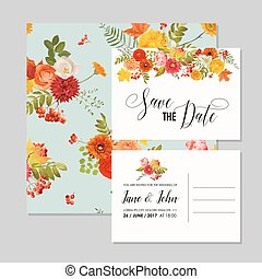 Floral Wedding Invitation Card Template Set with Autumn...