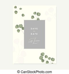 Floral wedding invitation, greeting card with green Silver dollar Eucalyptus leaves isolated on white background. Simple botanical design, vintage vector illustration, brochure template.