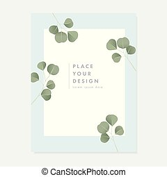 Floral wedding invitation, greeting card with green Silver dollar Eucalyptus leaves isolated on white and mint background. Simple botanical design, vintage vector illustration, brochure template.