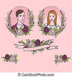 Floral wedding invitation, save the date. Flower vintage card with laurel. Bride and groom getting married