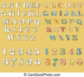 Floral White and Colorful Letters and Numbers