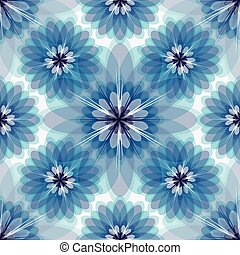 floral, white-grey-blue, repetindo, padrão
