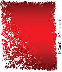 Floral winter background - Decorative floral Christmas...
