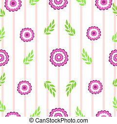 Floral with leaves on a pink striped seamless background vector