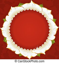 floral, witte cirkel, frame