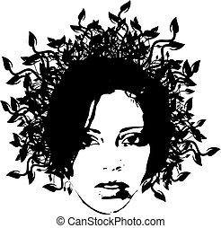 floral woman face 2