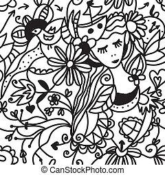 Floral woman seamless pattern - fashion concept design