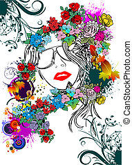 Floral woman silhouette