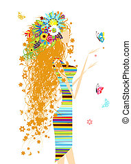 Floral woman with butterfly for your design