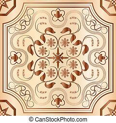 Floral wood mosaic seamless pattern