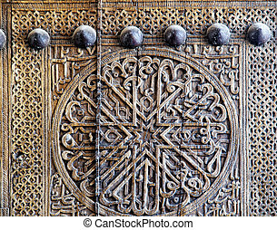 Floral wooden decor on a door