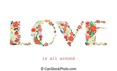floral, woord, liefde, kaart