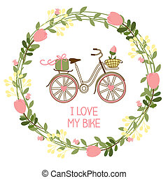 floral wreath and bike for invitations and greeting cards,...