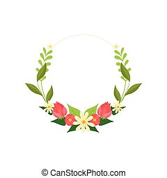 Floral Wreath Circle Frame with Blooming Flowers and Leaves, Design Element For Greeting Card, Invitation Vector Illustration