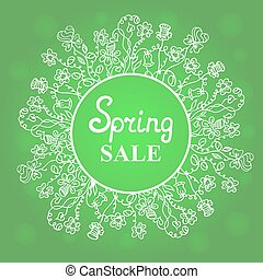 Floral wreath. Concept design spring sale for Women's Day. March 8. Happy Easter