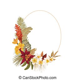 Floral wreath frame with watercolor dry tropical flowers, tropic palm leaves. Vector summer vintage orchid flower