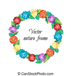 Floral wreath from beautiful colorful flowers