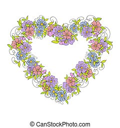 Floral wreath in the shape of a heart made of small decorative flowers in folk style