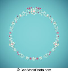 Floral wreath isolated on blue