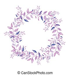 Floral wreath isolated on white background.