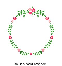 Floral wreath isolated on white.