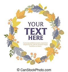 Floral wreath of autumn leaves
