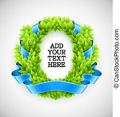 floral wreath of green leaves with blue ribbon