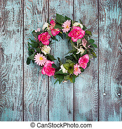 Floral wreath on vintage green background - Floral wreath ...
