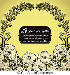 Floral wreath postcard with flowers. Vector illustration.