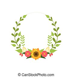 Floral Wreath, Round Border with Flowers and Leaves, Design Element For Greeting Card, Invitation Vector Illustration
