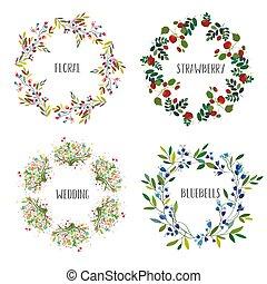 Floral wreath set - vector illustration