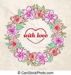 Floral wreath - Valentine design.