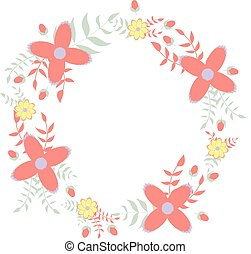 Floral wreath wedding invitation illustration