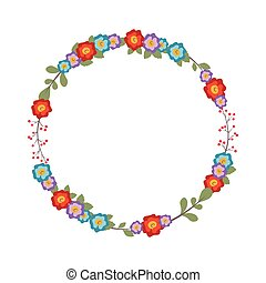 Floral wreath with colorful flowers