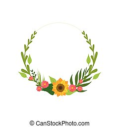 Floral Wreath with Flowers and Leaves, Design Element For Greeting Card, Invitation Vector Illustration