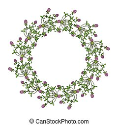 Floral wreath with red clover