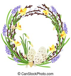 Floral wreath with spring flowers. Botanical illustration. Pastel colors. Vector.
