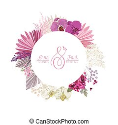 Floral wreath with watercolor dry pink flowers, tropical palm leaves. Vector boho summer vintage orchid flower