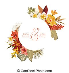 Floral wreath with watercolor dry tropical flowers, tropic palm leaves. Vector summer vintage orchid flower banner
