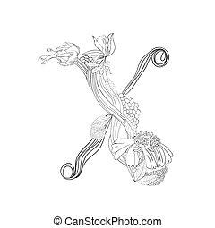 floral, x, fuente, carta
