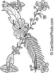 floral, x, ornamento, letra