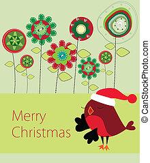 Floral Xmas greeting card