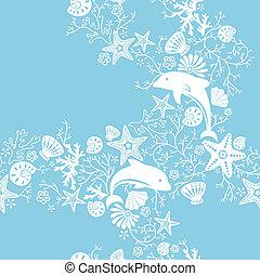 floral, y, delfín, patrón