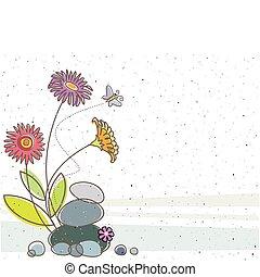 floral, y, el, mariposa