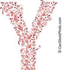 floral, y, romantique, lettre